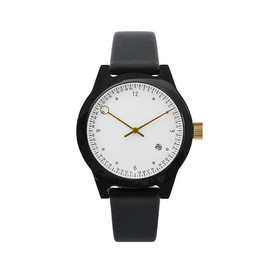 squarestreet - Minuteman Watch, Two Hand, Black with Black Leather Strap