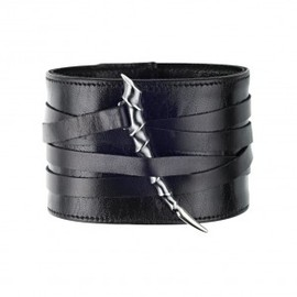 SHAUN LEANE - Black Leather and Oxidised Silver Horn Wide Bracelet