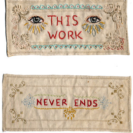 JENNY HART - This Work Never Ends - 2002, hand embroidery on salvaged cotton. Collection unknown.