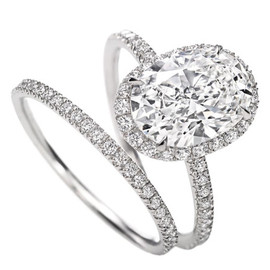 Harry Winston - Oval Micropavé Diamond Engagement Ring