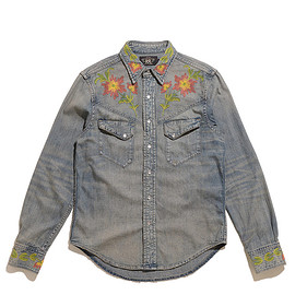 RRL - Slim Fit Denim Western Shirt-Cary Wash