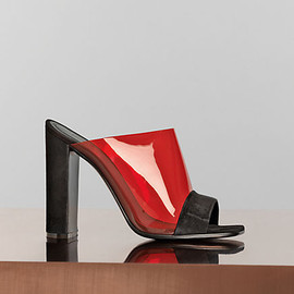 CELINE - 115 mm Optic Mule in Black Suede Kidskin & Red Vinyl