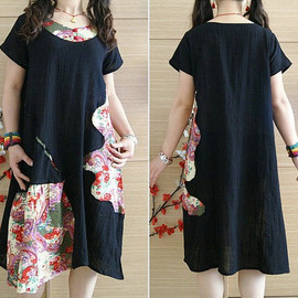 dress - women black summer dress