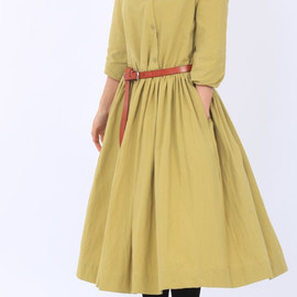 dress - light green Cotton lapel Wear Long pleated dress