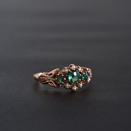 Antique Green Paste and Pearl Ring