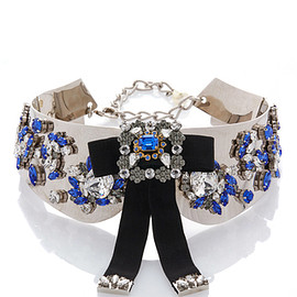 DOLCE&GABBANA - FW2016 Blue Crystal Emebllished Silver Collar With Black Bow