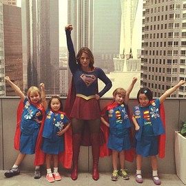 Super girls meet Supergirl Melissa Benoist
