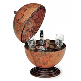 Desk globe with drinks cabinet
