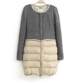 European Style Stylish Mixing Color Wool Spliced Coat