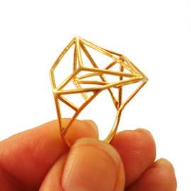 Osnat Har-Noy Design Interpretations - Architectural Structure Wide Geometric Gold Ring