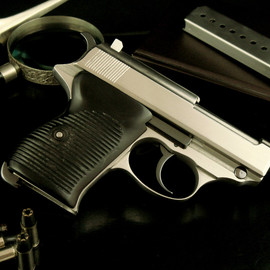 Walther - P38 Baby Mob Guns - Satin White with Custom Wartime Grips