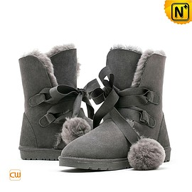 CWMALLS - Grey Sheepskin Ankle Boots CW314408