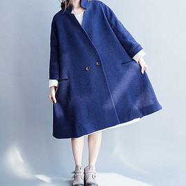 Wool Cloak coat - blue Overcoat dark green Overcoat Winter shawl Wool Cloak coat
