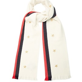 GUCCI - Star and Web-striped wool-blend scarf