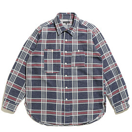 ENGINEERED GARMENTS - Work Shirt-Twill Plaid-Navy×Grey×Red