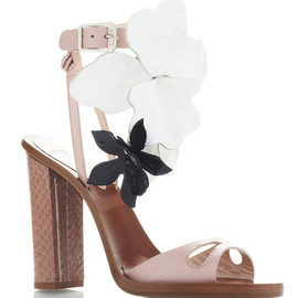 NO.21 - Blush Pink High Heel Sandals With Black And White Flowers