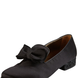 LANVIN - Satin Glitter-Heel Bow Slipper