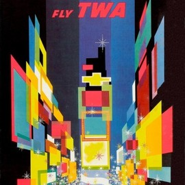 David Klein - New York Fly TWA Vintage Travel Poster 1956