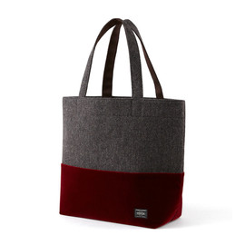 "HEAD PORTER - ""VELOURS"" SHOPPING BAG (L) RED"