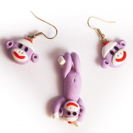 Luulla - Lavender Sock Monkey Face Earrings and Swinging Pendant Set in Polymer Clay
