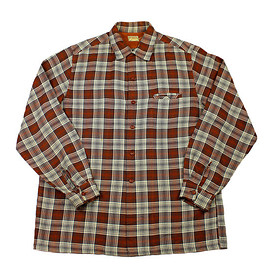 VINTAGE - Vintage 1970s McGregor Plaid Button Up Work Shirt in Orange/Cream/Gray Mens Size Large