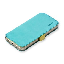 cheero - Leather Case iPhone5/5s (Book type) -本革(牛)- (iPhone5/5s, ヌバック ブルー&イエロー)