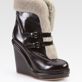 MARC BY MARC JACOBS - Leather and Shearling-Lined Buckle Ankle Boots