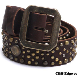 NEIGHBORHOOD - GARRISON.STUDS-2/CL-BELT(レザーベルト)BROWN284-000329-016-【新品】【smtb-TD】【yokohama】