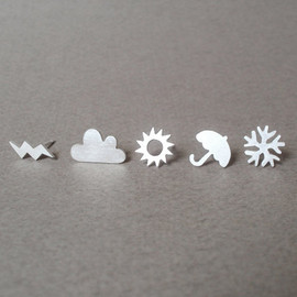 huiyitan - sterling silver weather forecast ear studs (set of 6 ear studs), handmade in England