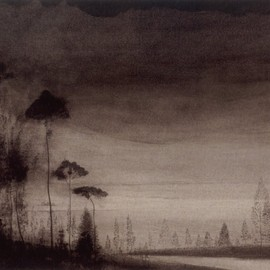 Léon Spilliaert - Landscape with tall trees, 1900-1902, India ink and Conté pencils on paper
