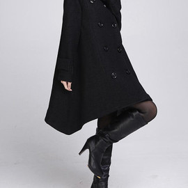 wool coat - Double breasted Hoodie wool coat/ winter wool coat/ hood Cloak coat