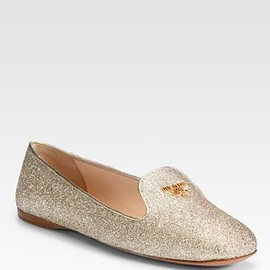 PRADA - Glitter Smoking Slippers