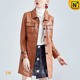 CWMALLS - Custom Leather Coat | CWMALLS® Canberra Womens Leather Trench Coat CW619059 [Free Shipping]