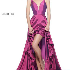 dresses - Plunging V Neckline Open Back Plum Sherri Hill 51126 Ruffled High Low Taffeta Evening Dresses 2017