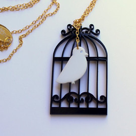 Luulla - Birdcage Necklace,Plexiglass Jewelry,Lasercut Acrylic,Gifts Under 25