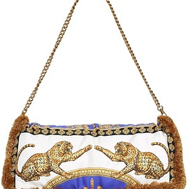 VERSACE - PRINTED SILK PILLOW BAG W/ FRINGE