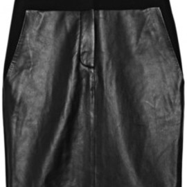 ALEXANDER WANG - Leather-paneled wool-blend crepe skirt