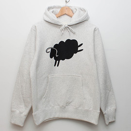 cup and cone - Cycle Sheep Hoodie - Heather Ivory x Black
