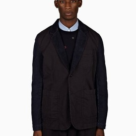 COMME des GARÇONS SHIRT - Navy Blue Cotton Cord Two-Button Jacket