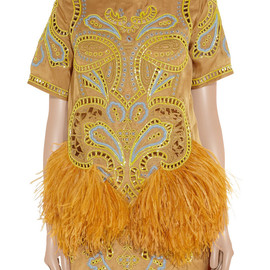 Matthew Williamson - Embroidered feather-trimmed silk-organza dress by Matthew Williamson