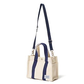 "HEAD PORTER - ""POLLOCK"" 2WAY TOTE BAG (XS) BEIGE/NAVY"