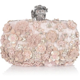 Alexander McQueen - Flower-appliquéd silk-brocade box clutch