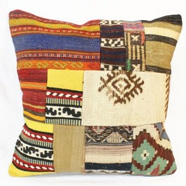 DIODBA - Patchwork Vintage Anatolian Pillow, Kilim Cushion Cover, Turkish Pillow