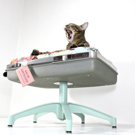 AtomicAtic - Upcycled Suitcase Pet Bed with Pedestal Base