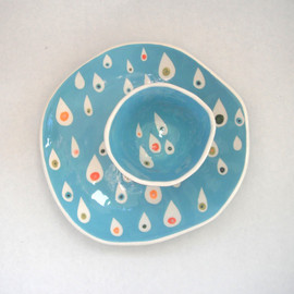 made to order-----Dessert plate Turquoise  Raindrops