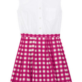 Miu Miu - checked-skirt cotton shirt dress