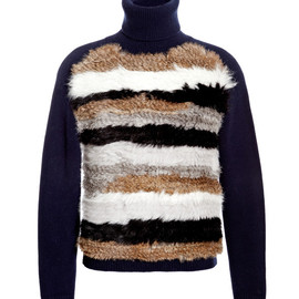 OPENING CEREMONY - Navy Multi Striped Fur Turtleneck