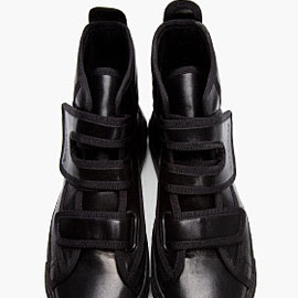 RAF SIMONS - BLACK LEATHER VELCRO HIGH-TOPS
