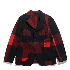 ENGINEERED GARMENTS - Re Bedford Jacket-Big Plaid Wool Melton-Black
