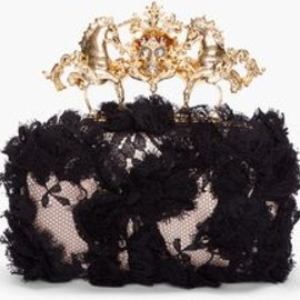 Alexander McQueen - Black Lace Unicorn Skull Clutch in Pink  & Black
